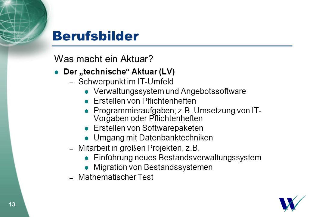 """Berufsbilder Was macht ein Aktuar Der """"technische Aktuar (LV)"""