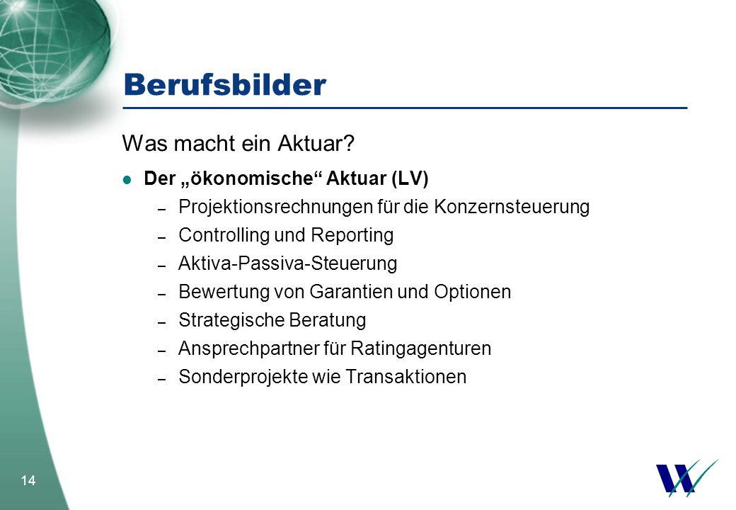 """Berufsbilder Was macht ein Aktuar Der """"ökonomische Aktuar (LV)"""