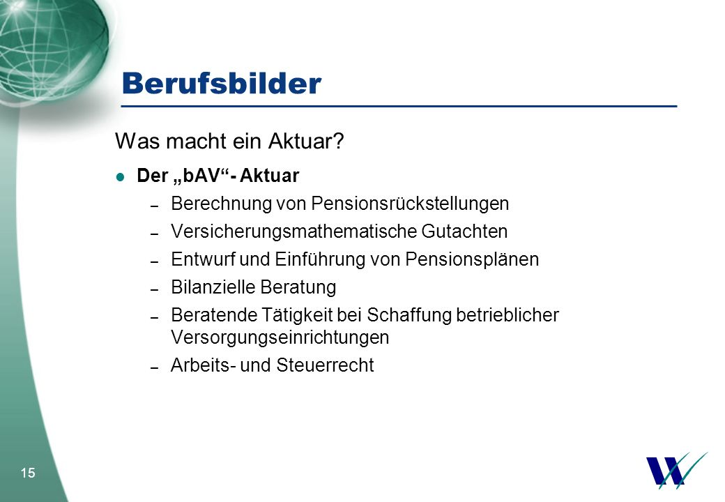 """Berufsbilder Was macht ein Aktuar Der """"bAV - Aktuar"""