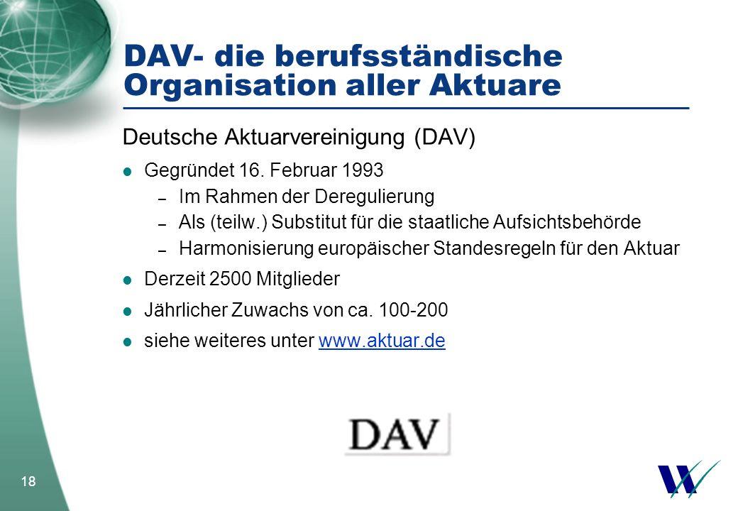 DAV- die berufsständische Organisation aller Aktuare