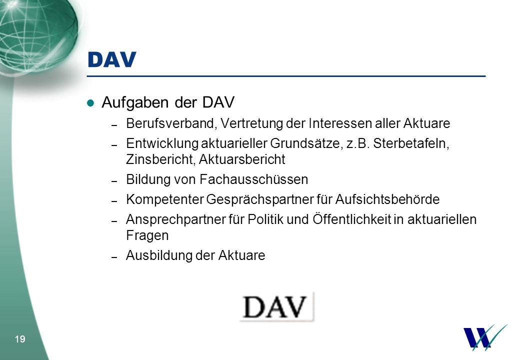 DAV Aufgaben der DAV. Berufsverband, Vertretung der Interessen aller Aktuare.