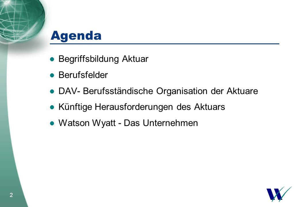 Agenda Begriffsbildung Aktuar Berufsfelder