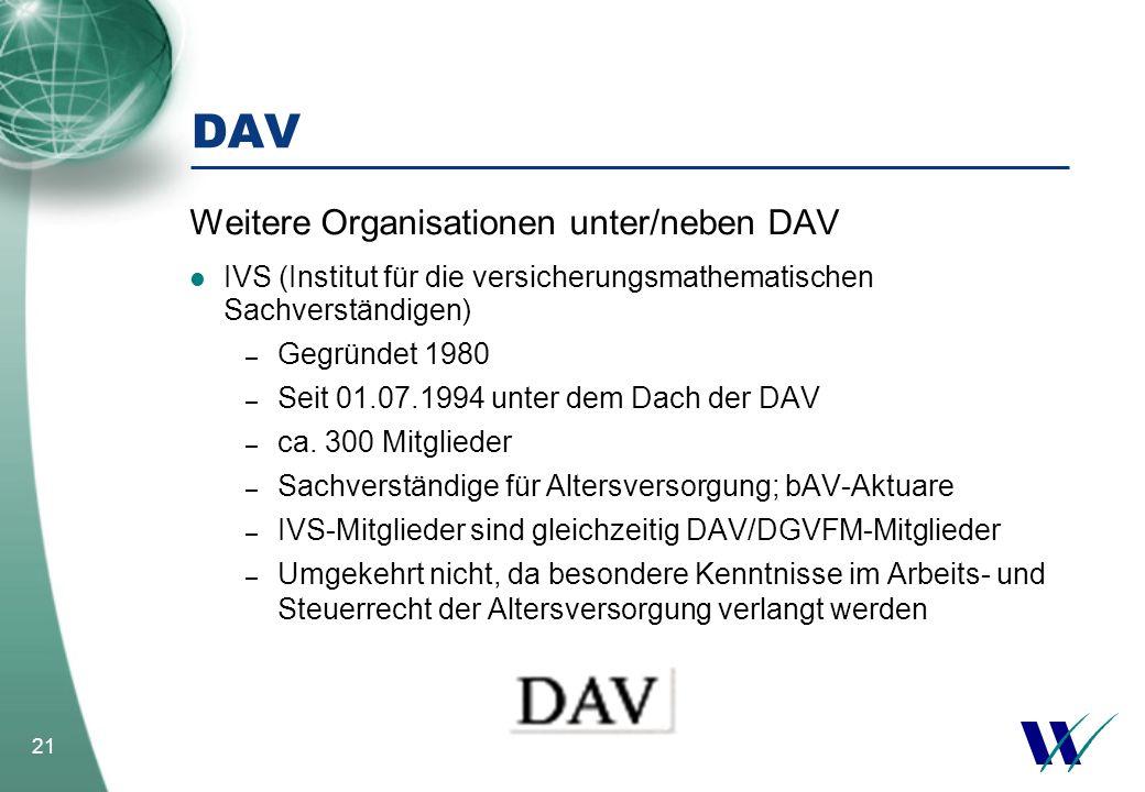 DAV Weitere Organisationen unter/neben DAV