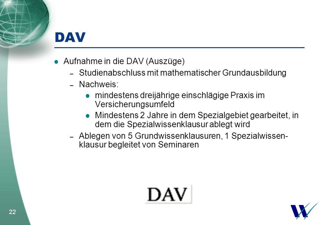 DAV Aufnahme in die DAV (Auszüge)
