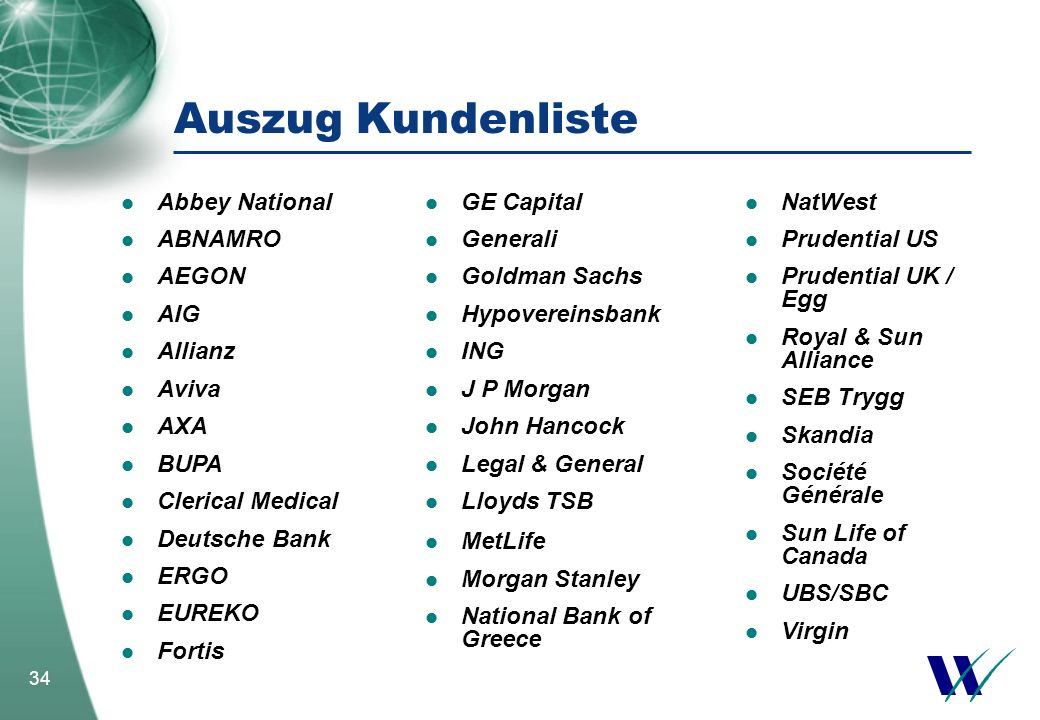Auszug Kundenliste Abbey National ABNAMRO AEGON AIG Allianz Aviva AXA