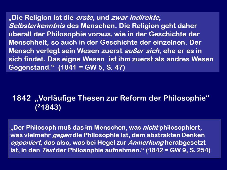 """1842 """"Vorläufige Thesen zur Reform der Philosophie (21843)"""