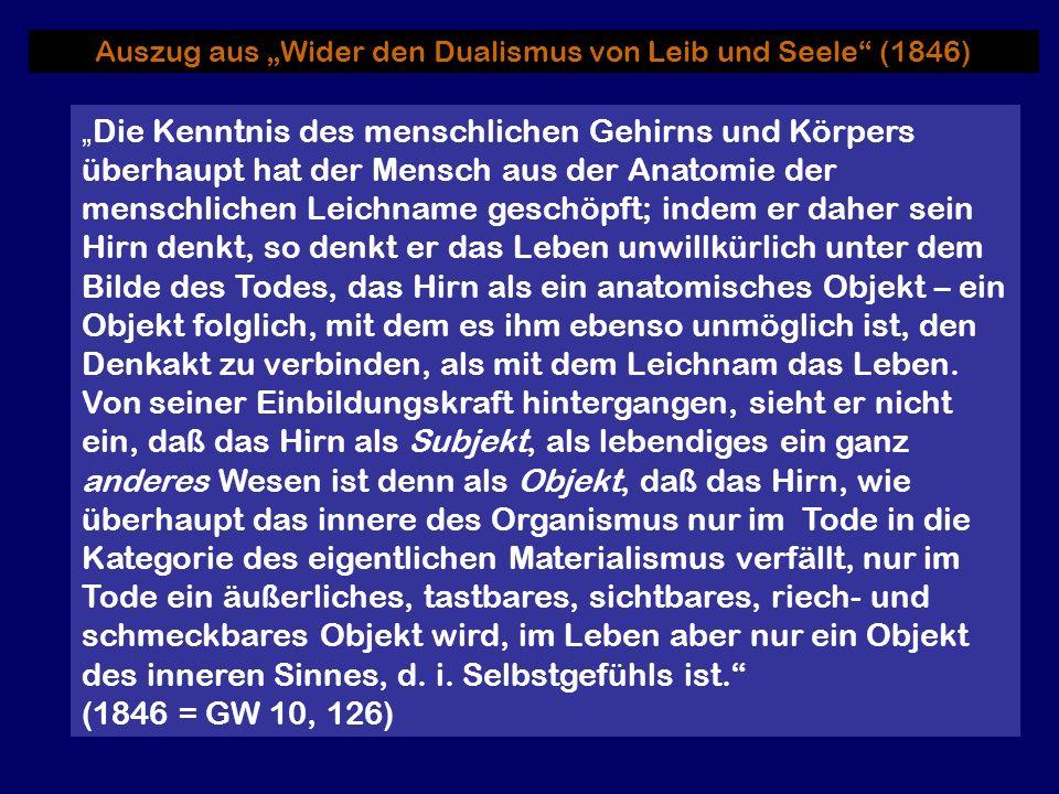"""Auszug aus """"Wider den Dualismus von Leib und Seele (1846)"""