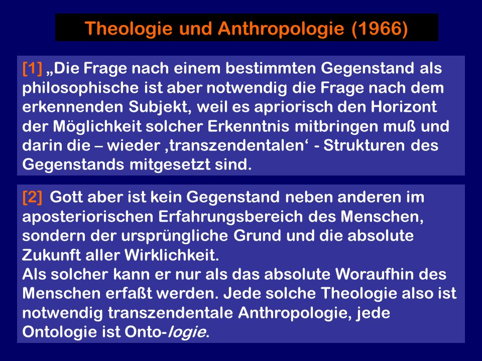 Theologie und Anthropologie (1966)