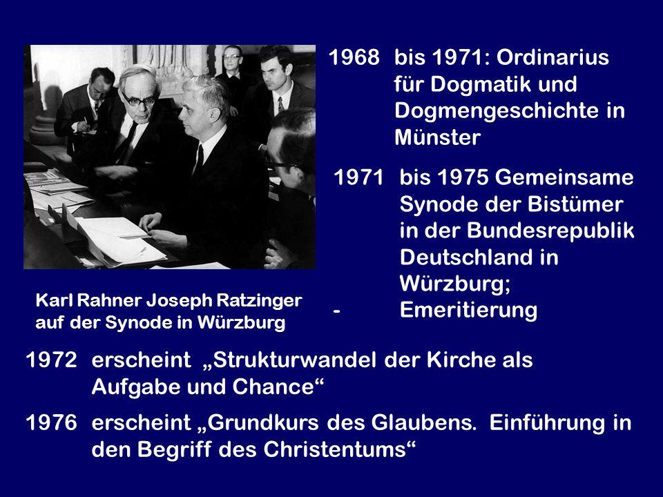 1968 bis 1971: Ordinarius für Dogmatik und Dogmengeschichte in Münster