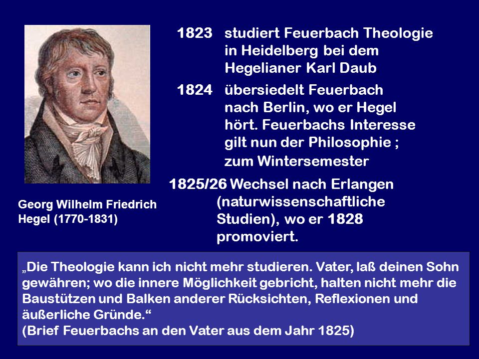 1823 studiert Feuerbach Theologie