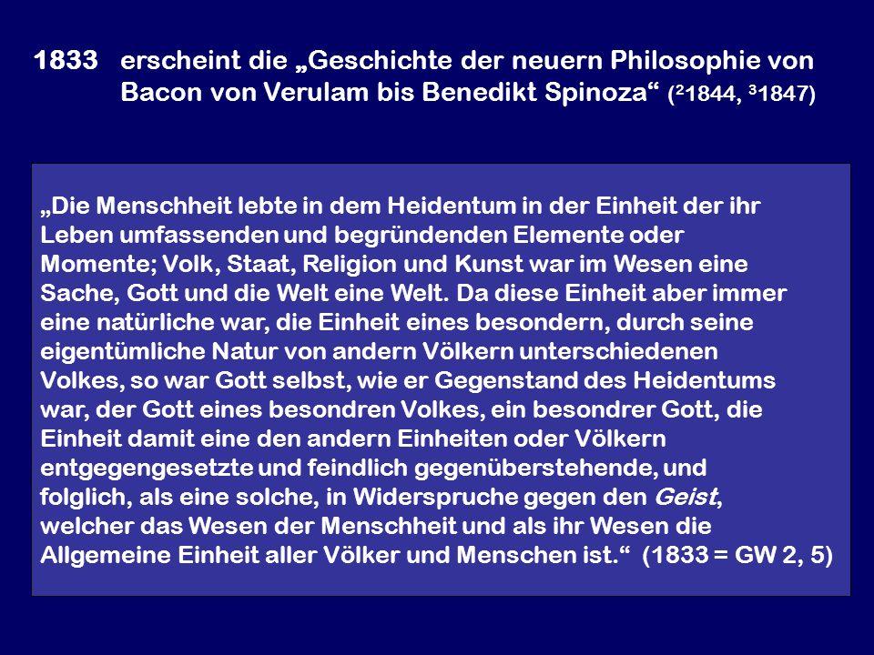 """1833. erscheint die """"Geschichte der neuern Philosophie von"""