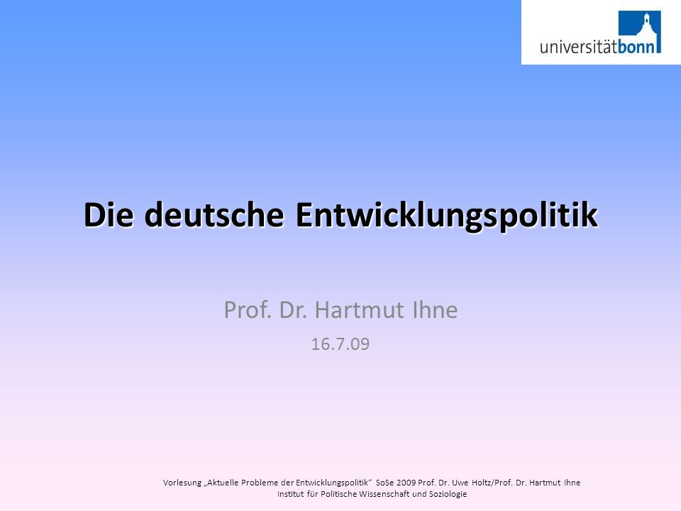 Die deutsche Entwicklungspolitik