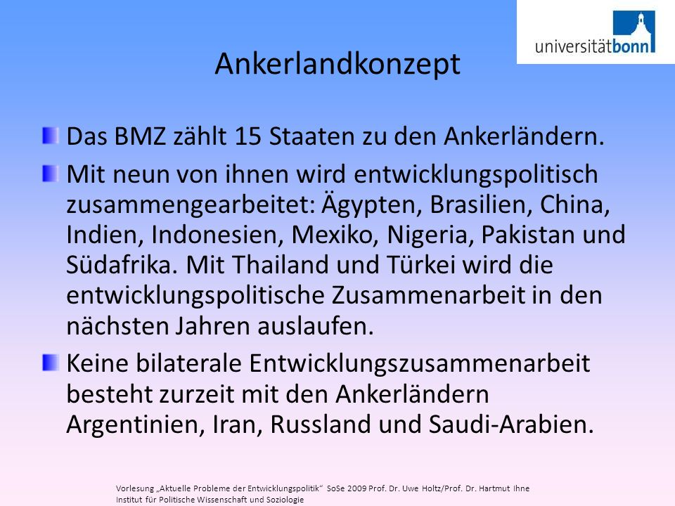 Ankerlandkonzept Das BMZ zählt 15 Staaten zu den Ankerländern.