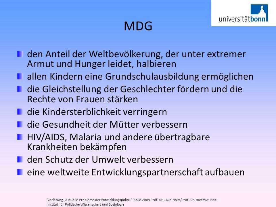 MDG den Anteil der Weltbevölkerung, der unter extremer Armut und Hunger leidet, halbieren. allen Kindern eine Grundschulausbildung ermöglichen.