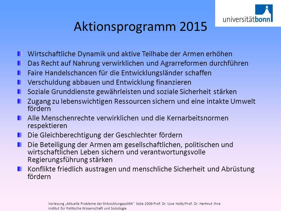 Aktionsprogramm 2015 Wirtschaftliche Dynamik und aktive Teilhabe der Armen erhöhen.