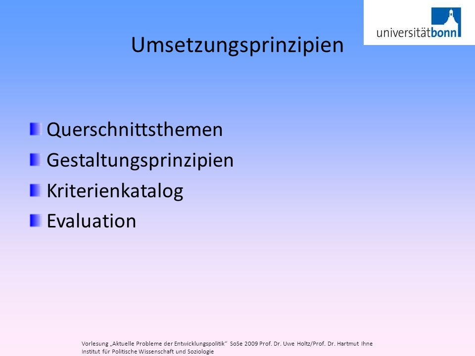 Umsetzungsprinzipien