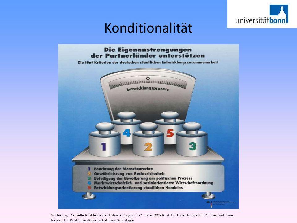 """Konditionalität Vorlesung """"Aktuelle Probleme der Entwicklungspolitik SoSe 2009 Prof. Dr. Uwe Holtz/Prof. Dr. Hartmut Ihne."""
