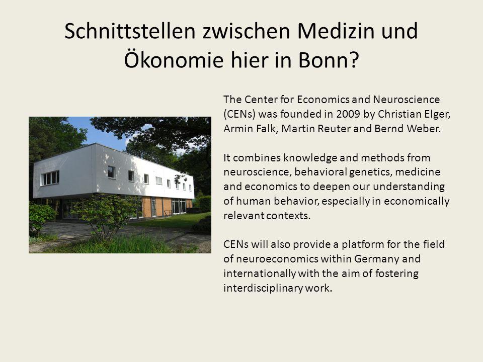 Schnittstellen zwischen Medizin und Ökonomie hier in Bonn