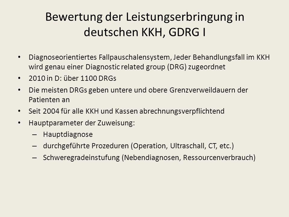 Bewertung der Leistungserbringung in deutschen KKH, GDRG I