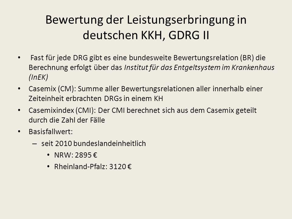 Bewertung der Leistungserbringung in deutschen KKH, GDRG II