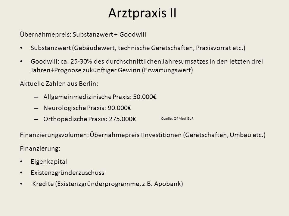 Arztpraxis II Übernahmepreis: Substanzwert + Goodwill