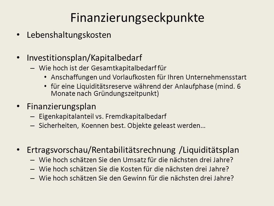 Finanzierungseckpunkte