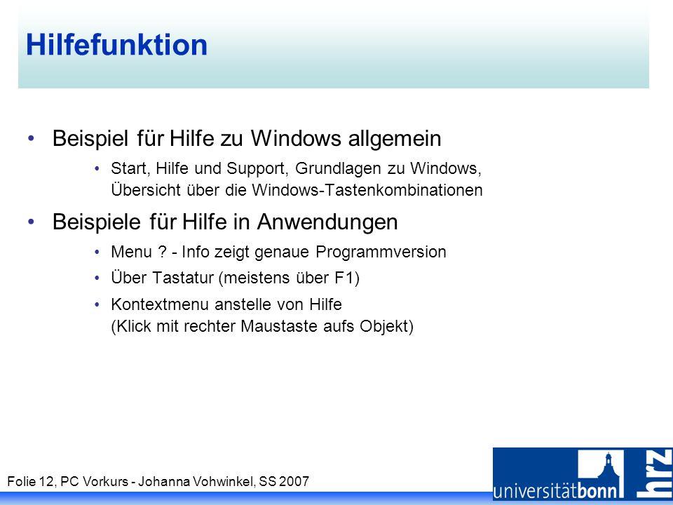 Hilfefunktion Beispiel für Hilfe zu Windows allgemein