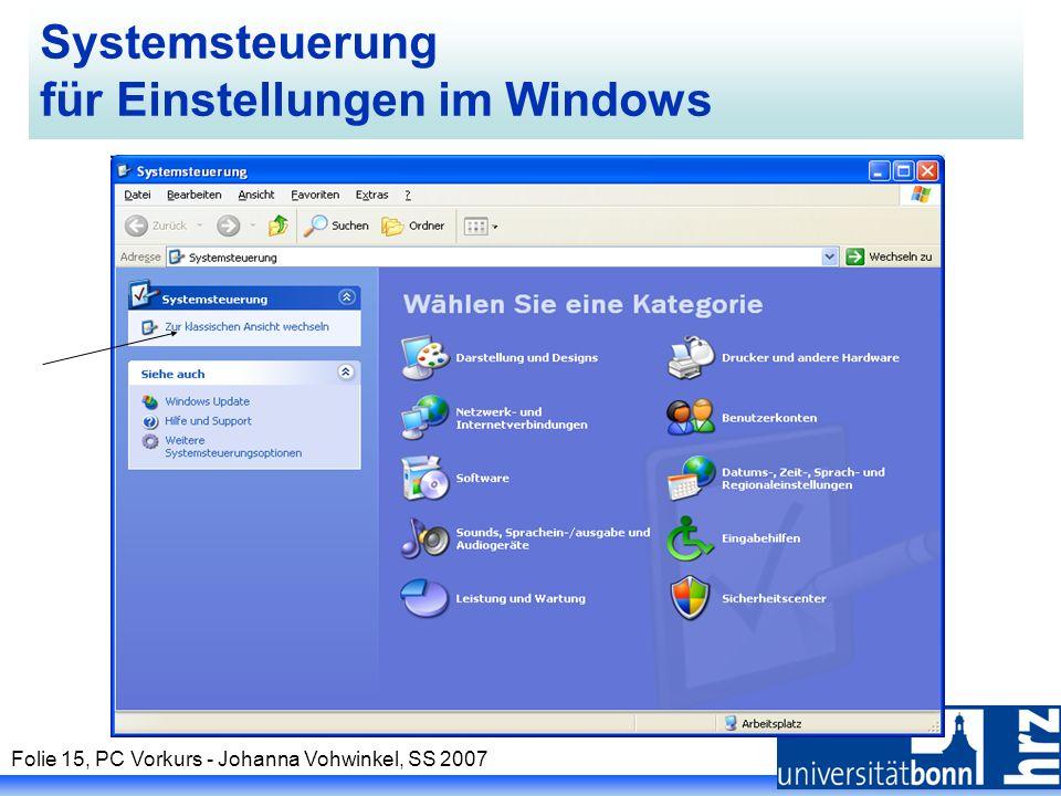 Systemsteuerung für Einstellungen im Windows