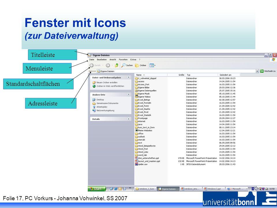 Fenster mit Icons (zur Dateiverwaltung)