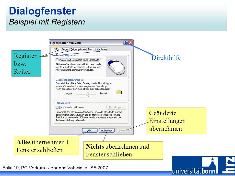 Dialogfenster Beispiel mit Registern