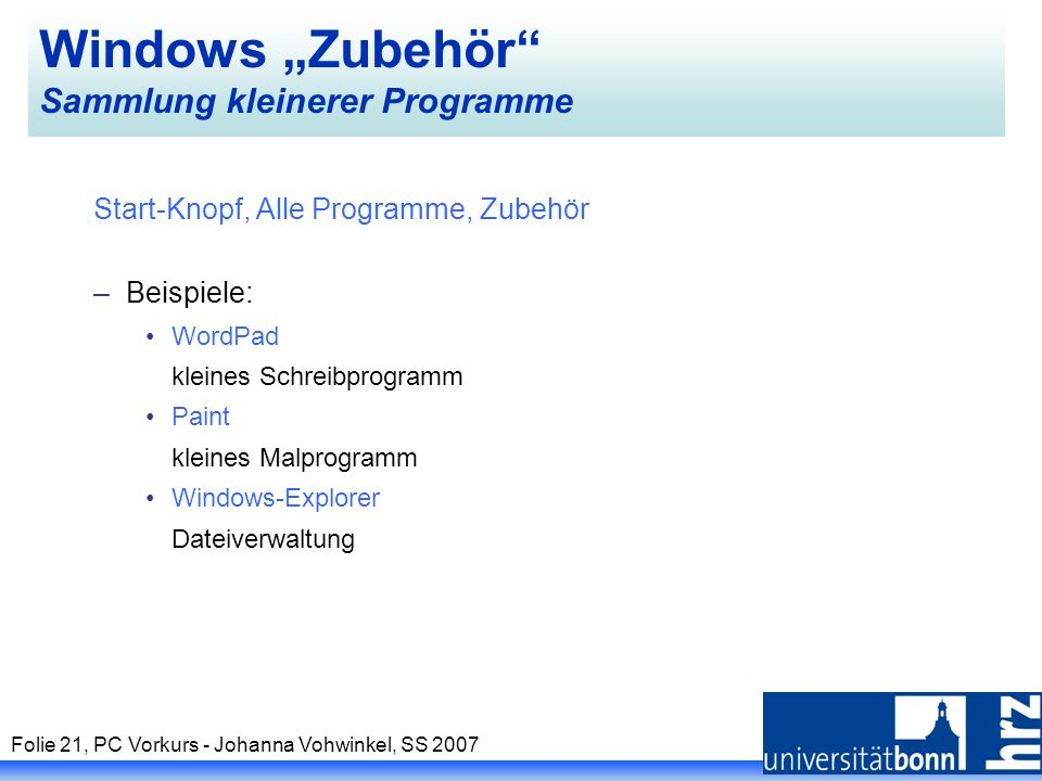 """Windows """"Zubehör Sammlung kleinerer Programme"""