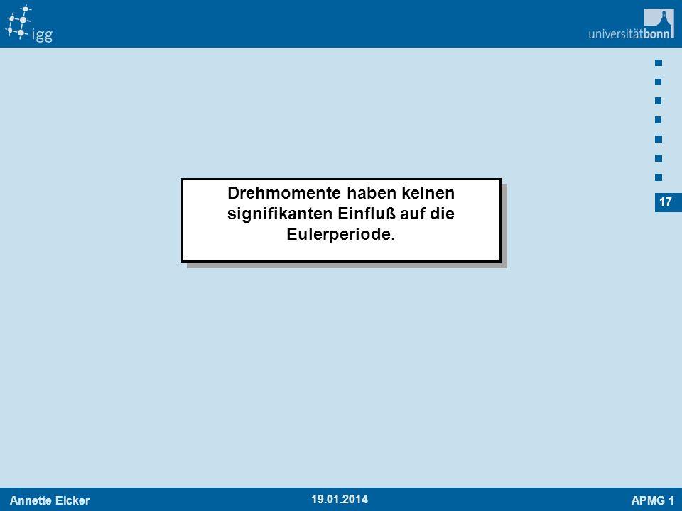 Drehmomente haben keinen signifikanten Einfluß auf die Eulerperiode.