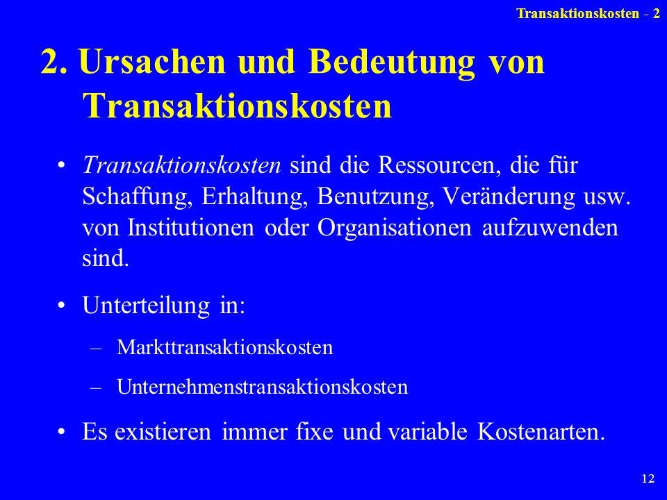 2. Ursachen und Bedeutung von Transaktionskosten