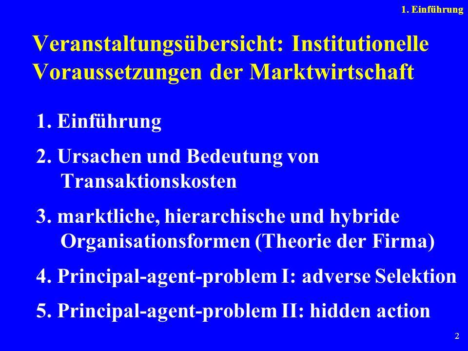 1. Einführung Veranstaltungsübersicht: Institutionelle Voraussetzungen der Marktwirtschaft. 1. Einführung.
