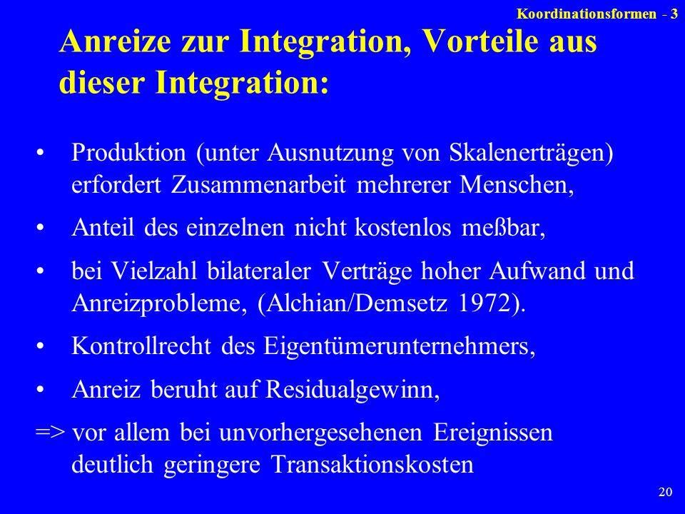 Anreize zur Integration, Vorteile aus dieser Integration: