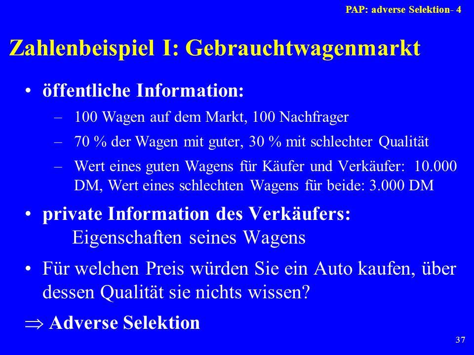Zahlenbeispiel I: Gebrauchtwagenmarkt