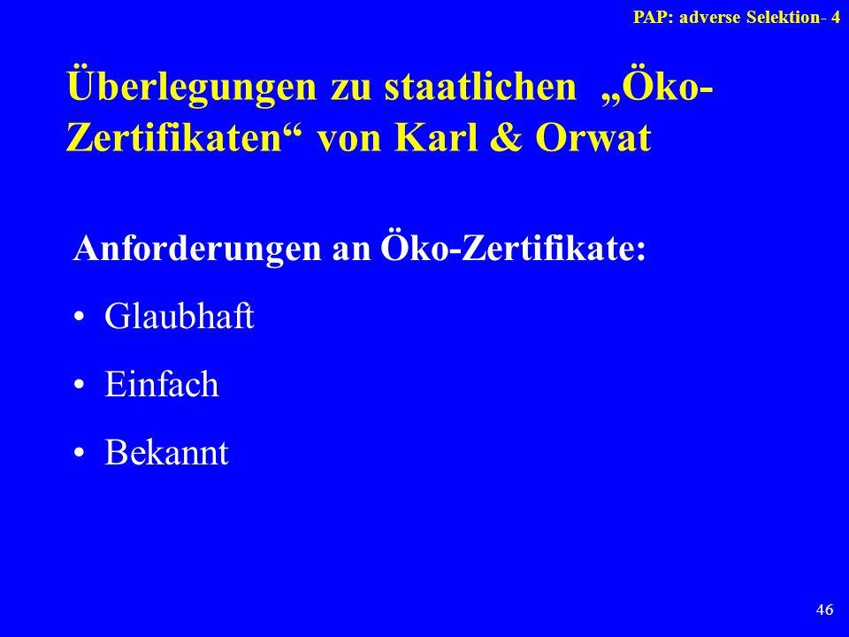 """Überlegungen zu staatlichen """"Öko-Zertifikaten von Karl & Orwat"""