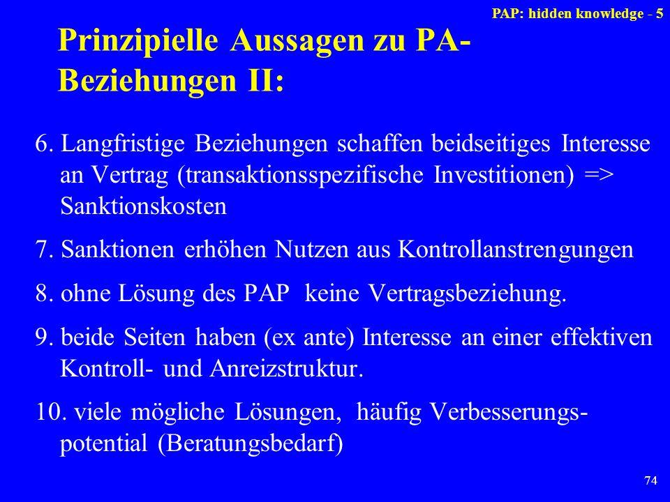 Prinzipielle Aussagen zu PA-Beziehungen II: