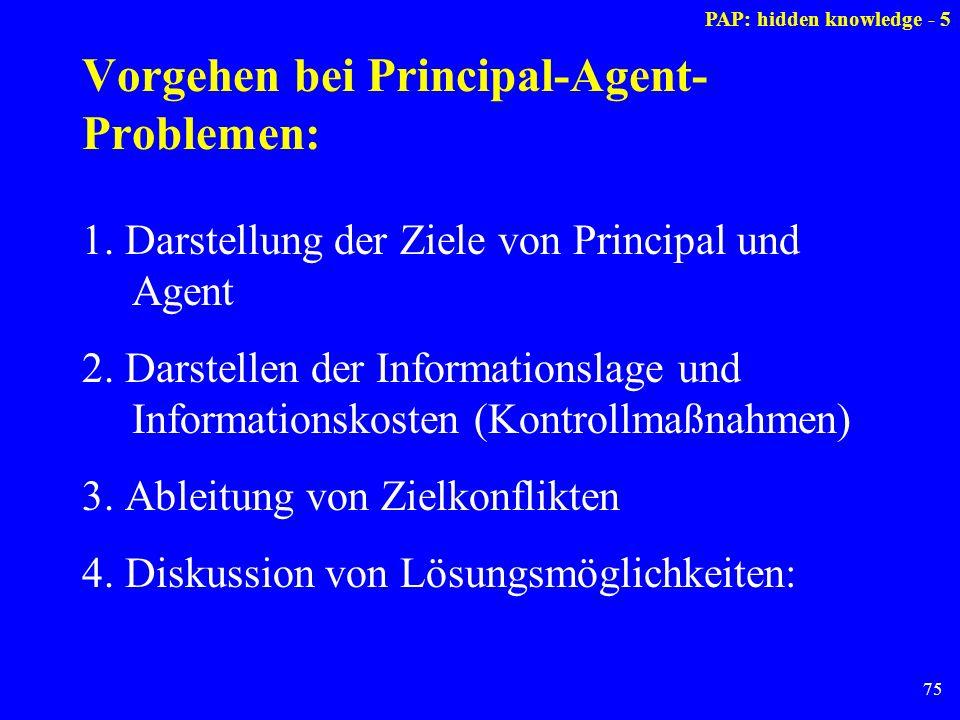Vorgehen bei Principal-Agent-Problemen: