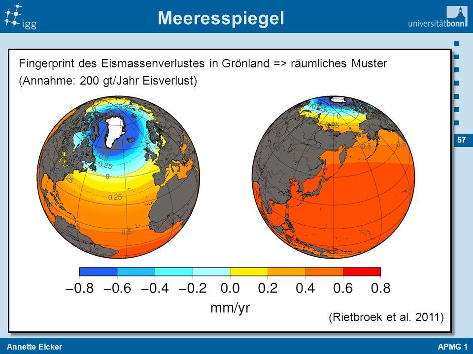 Meeresspiegel Fingerprint des Eismassenverlustes in Grönland => räumliches Muster. (Annahme: 200 gt/Jahr Eisverlust)