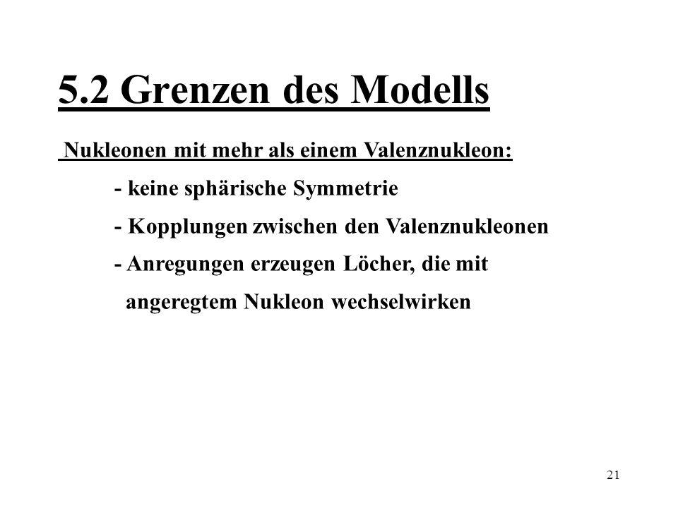 5.2 Grenzen des Modells Nukleonen mit mehr als einem Valenznukleon: