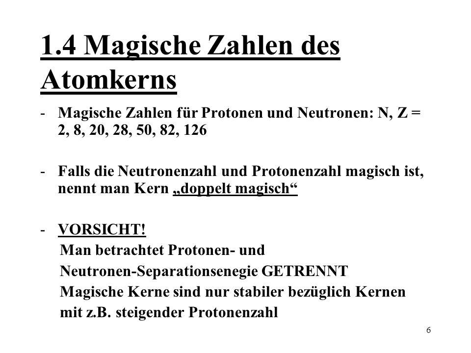 1.4 Magische Zahlen des Atomkerns