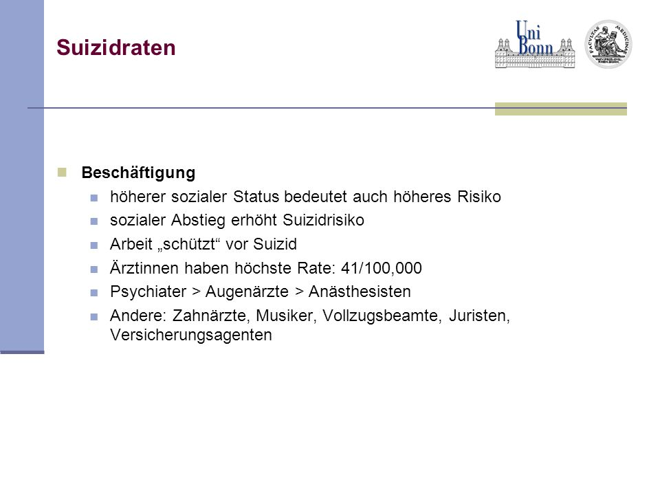 Suizidraten Beschäftigung