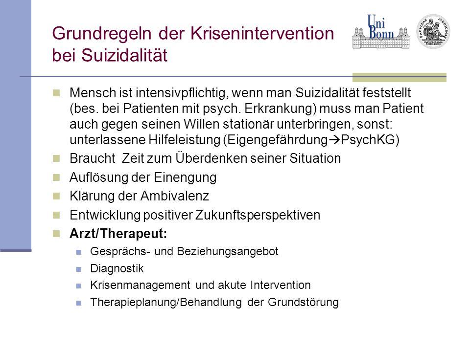 Grundregeln der Krisenintervention bei Suizidalität