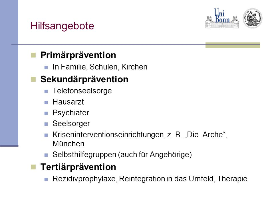 Hilfsangebote Primärprävention Sekundärprävention Tertiärprävention