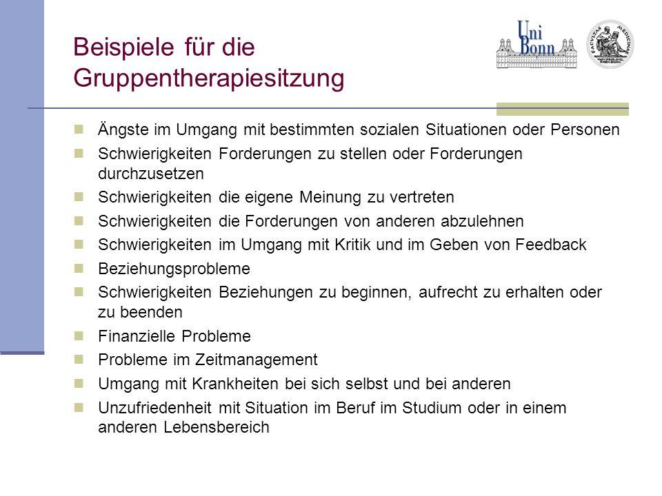 Beispiele für die Gruppentherapiesitzung