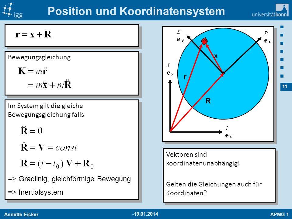 Position und Koordinatensystem
