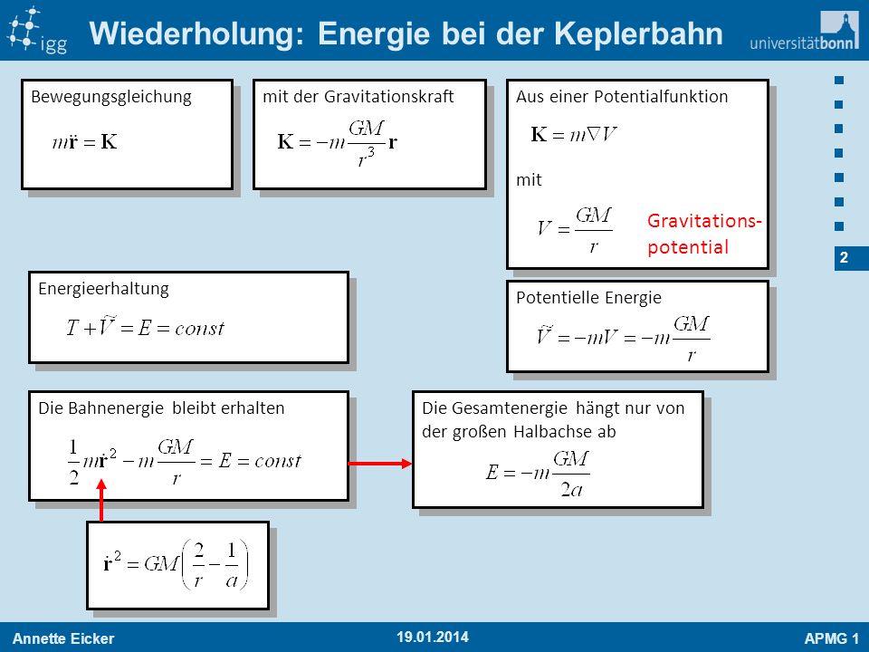 Wiederholung: Energie bei der Keplerbahn