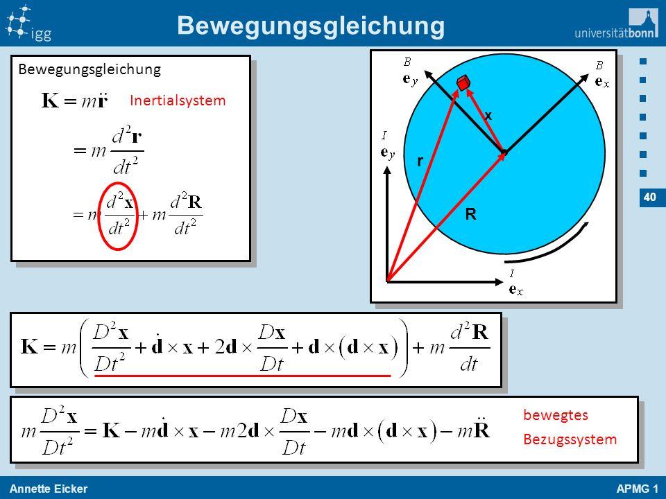 Bewegungsgleichung Bewegungsgleichung Inertialsystem r R bewegtes