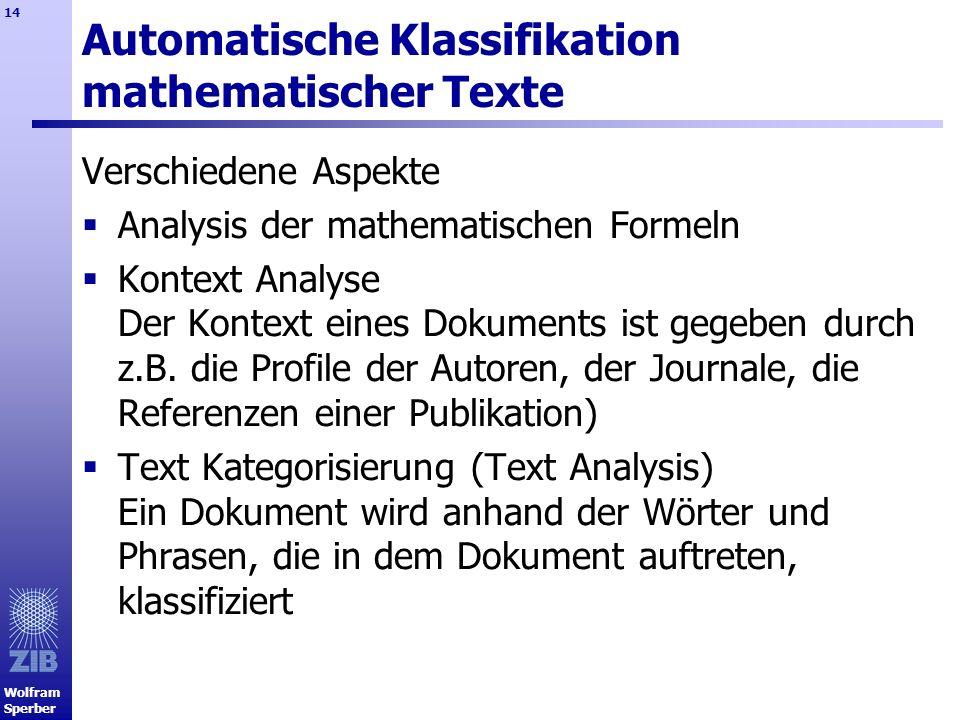 Automatische Klassifikation mathematischer Texte